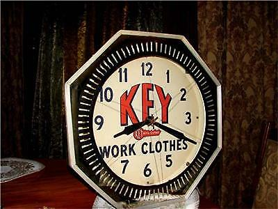 """1940's Key Work Clothes NEON display clock sign  """"OLD"""""""