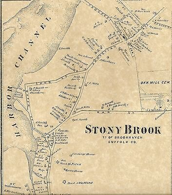 Stony Brook  NY 1873  Map with Homeowners Shown