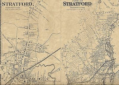 Stratford Lordship Housatonic CT 1867 Map with Homeowners Names Shown