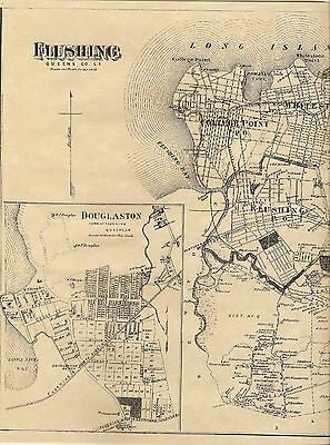 Flushing NY 1873 Maps with Homeowners Names Shown