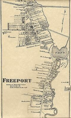 Freeport Hempstead Roosevelt NY 1873 Map with Homeowners Names Shown