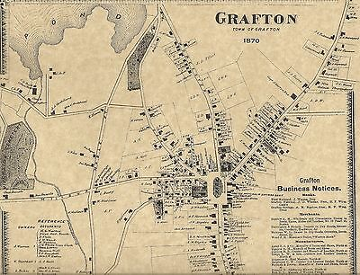 Grafton Saundersville Farnumsville MA 1870 Maps with Homeowners Names Shown