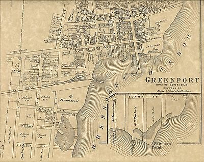 Greenport Long Island 1873 Map with Homeowners Names Shown