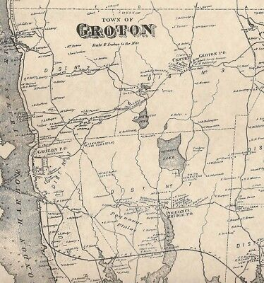 Groton Long Hill Poquonock Bridge Noank CT 1868 Map with Homeowners Names Shown