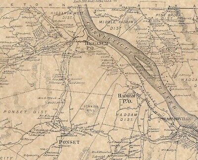 Haddam Higganum Ponset East Haddam CT 1874  Maps with Homeowners Names Shown