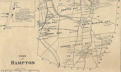 Hampton CT 1869 Map with Business and Homeowners Names Shown