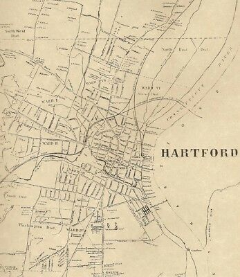 Hartford  CT 1869 Detailed Street Maps with Homeowners