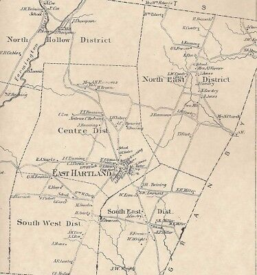 Hartland Barkhamsted Reservoir CT 1869 Map with Homeowners Names Shown