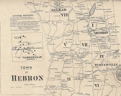 Hebron Gilead Amston Hope Valley CT 1869 Historical Map  Homeowners Names Shown