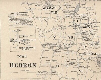 Hebron Gilead Amston Hope Valley CT 1869 Map with Homeowners Names Shown