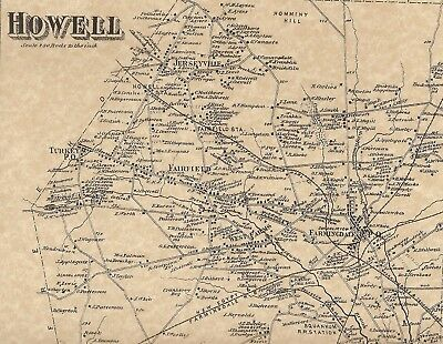 Howell Farmingdale Adelphia Jerseyville NJ 1873 Maps with Homeowners Names Shown
