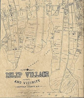 Islip Village NY 1888 Maps with Homeowners Names Shown