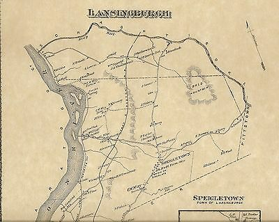 Lansingburgh Speigletown Pleasantdale  NY 1876 Map with Homeowners Names Shown