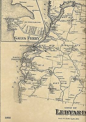 Ledyard Gales Ferry Allyns Point Mashantucket CT 1868 Map with Homeowners Names