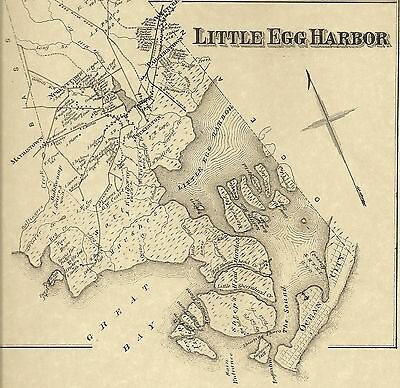 Little Egg Harbor Tuckerton Parkertown NJ 1876 Maps with Homeowners Names Shown