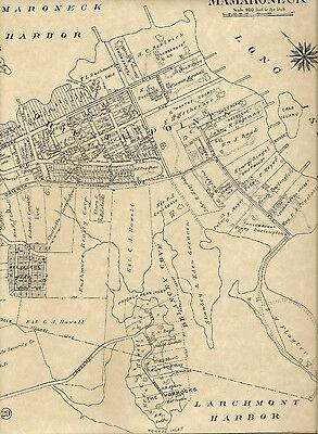 Mamaroneck  Larchmont Orienta NY 1910 Maps with Landowners Names Shown