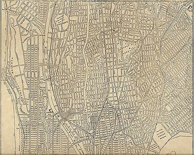 Manhattan Bronx NY 1908 Detailed Street Map