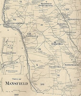 Mansfield Center Conantville Storrs CT 1869 Maps with Homeowners Names Shown