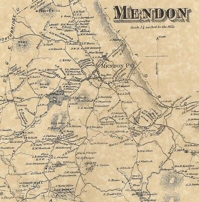 Mendon Northbridge Center MA 1870 Map with Homeowners Names Shown