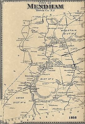 Mendham Whippany Brookside Pleasant Valley NJ 1868  Maps  Homeowners Names Shown