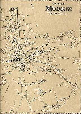 Morristown Brookside Morris Plains NJ 1868  Maps with Homeowners Names Shown