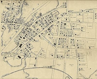 West Mystic Bridge Mystic Seaport CT  1869 Maps  with Homeowners Names Shown