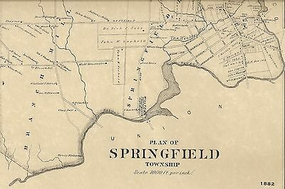 Springfield Union Cty NJ 1882  Map with Homeowners Names Shown