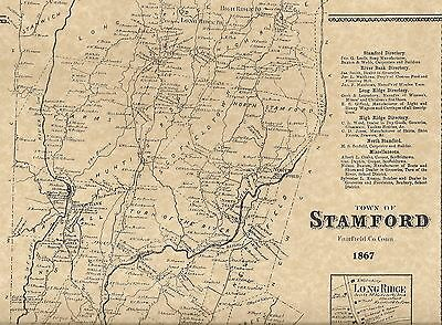 Stamford Long Ridge Shippan Belltown CT 1867  Map with Homeowners Names Shown