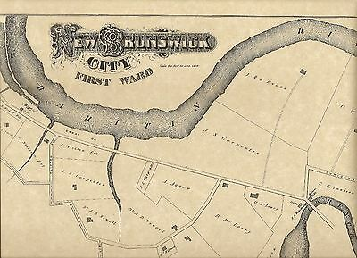 New Brunswick NJ 1876 Maps with Homeowners Names Shown
