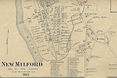 New Milford Gaylordsville Lower Merryall CT 1874 Maps Homeowners Names Shown