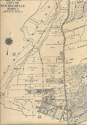 New Rochelle Wykagyl Beechmont  NY 1910 Maps with Landowners Names Shown