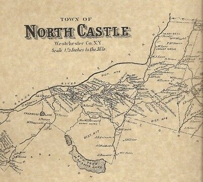 North Castle Banksville Thornwood Armonk NY 1867 Map with Homeowners Names Shown