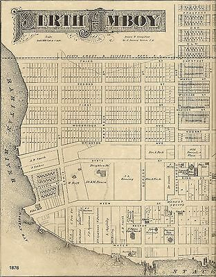Perth Amboy NJ 1876 Detailed Street Maps with Landowners
