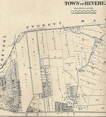 Revere MA 1874  Map with Homeowners Names Shown