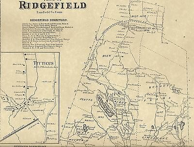 Ridgefield Georgetown Titicus CT 1867  Maps with Homeowners Names Shown