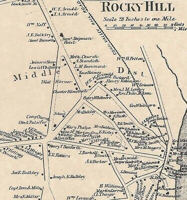 Rocky Hill Dinosaur State Park CT 1869 Map with Homeowners Names Shown