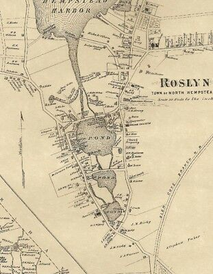 Roslyn Great Neck NY 1873 Map with Homeowners Shown