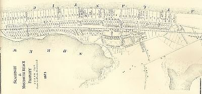 Seabright & Monmouth Beach NJ 1873 Map with Homeowners Detailed Lots