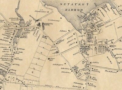 Setauket Mount Sinai Lakeland East Setauket  NY 1873 Map Homeowners Names Shown