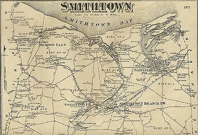Smithtown  Kings Park  St. James  NY 1873 Map with Homeowners Names Shown