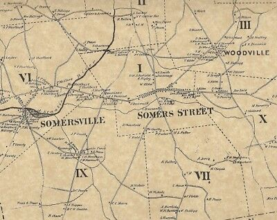 Somers Ellington Somersville Windermere CT 1869 Maps with Homeowners Names Shown