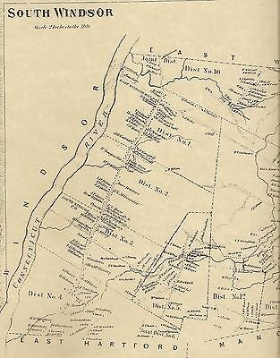 South Windsor Podunk River CT 1869 Maps with Homeowners Names Shown