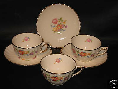 SOVEREIGN POTTERS #873-47 - FLORAL - 3 CUPS & SAUCERS