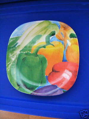 JCD Red Green Yellow Peppers Melamine 4 Plates Gorgeous