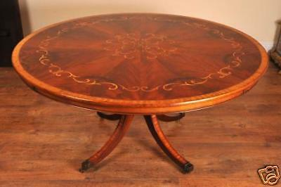 English Regency Round Dining Table Marquetry Inlay