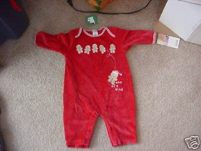 NWT- Carters red velour gingerbread men oufit - 3-6mos