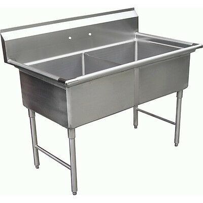 """ACE Commercial 2 Compartment S/S Sink 18""""x18""""x12 Without Drainboad ETL SE18182N"""