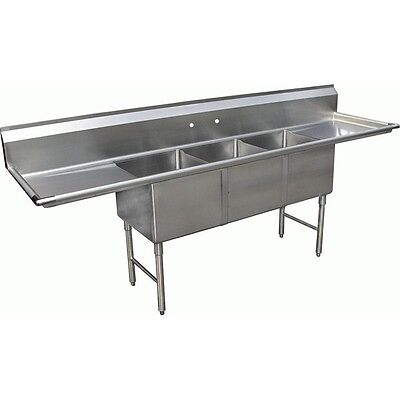 "3 COMPARTMENT Stainless Steel SINK 15X15X12 w/ Two 15"" DRAINBOARDS ETL SE15153D"