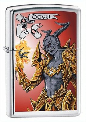 Zippo Lighter TCD Devil High Polish Chrome 24487 Personalised Engraved Free