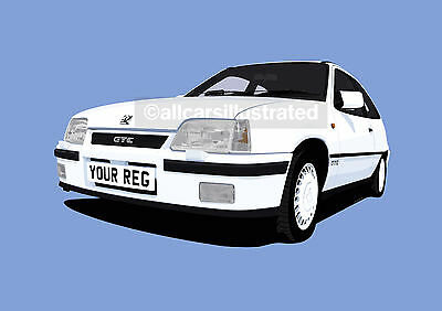 Vauxhall Astra Gte Graphic Car Art Print (Size A3). Personalise It!